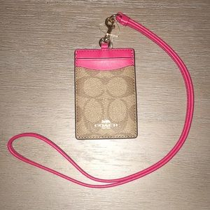 NWT Coach Lanyard: Tan and Red